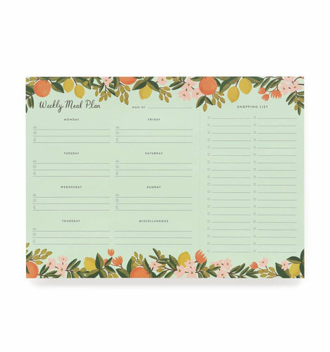 Rifle Paper Co. Citrus Floral Meal Planner with Tear-off Shopping List