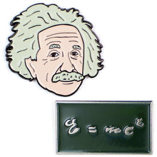 Load image into Gallery viewer, Unemployed Philosophers Guild Albert Einstein and E=mc2 Enamel Pins