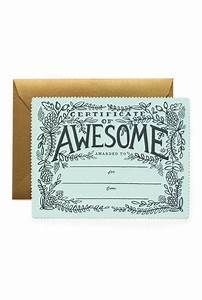 "Rifle Paper Co. ""Certificate of Awesome"" Card"