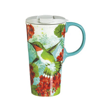 Load image into Gallery viewer, Hummingbird Trio Ceramic Travel Coffee Mug