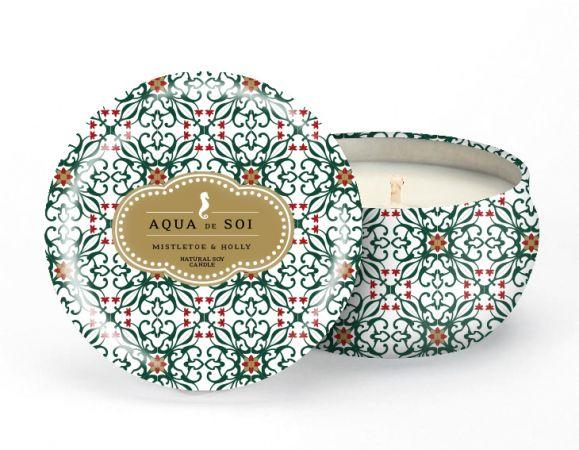 Aqua De Soi Mistletoe and Holly Natural Soy Candle