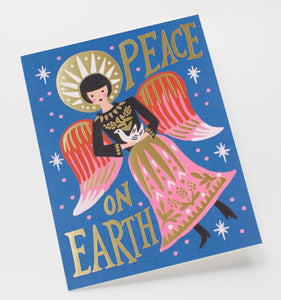Peace on Earth Angel Holiday Greeting Card - Petals and Postings