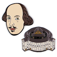 Load image into Gallery viewer, Unemployed Philosophers Guild Shakespeare and The Globe Enamel Pins