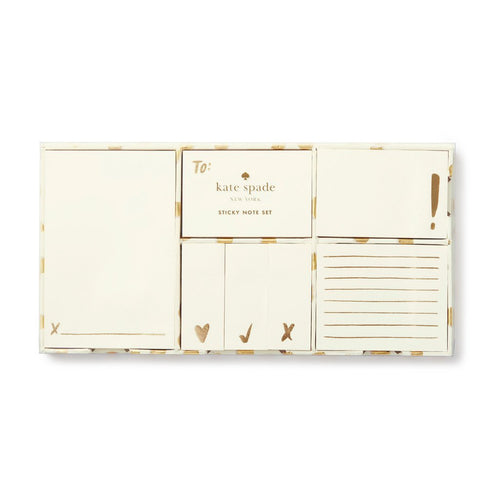 Kate Spade Gold Flamingo Dot Sticky Note Set