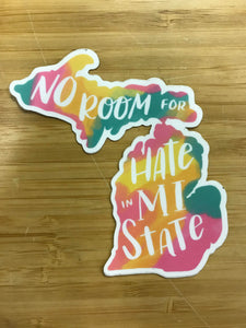 Midwest supply Co. No Room For Hate in MI State Sticker