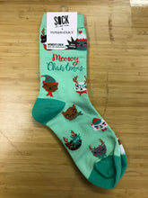 Load image into Gallery viewer, Meowy Christmas Paper Source Socks