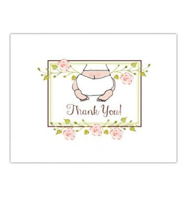 Stationery-Bella Ink-Baby Shower Thank You Cards, Baby Bottom Pink - Petals and Postings