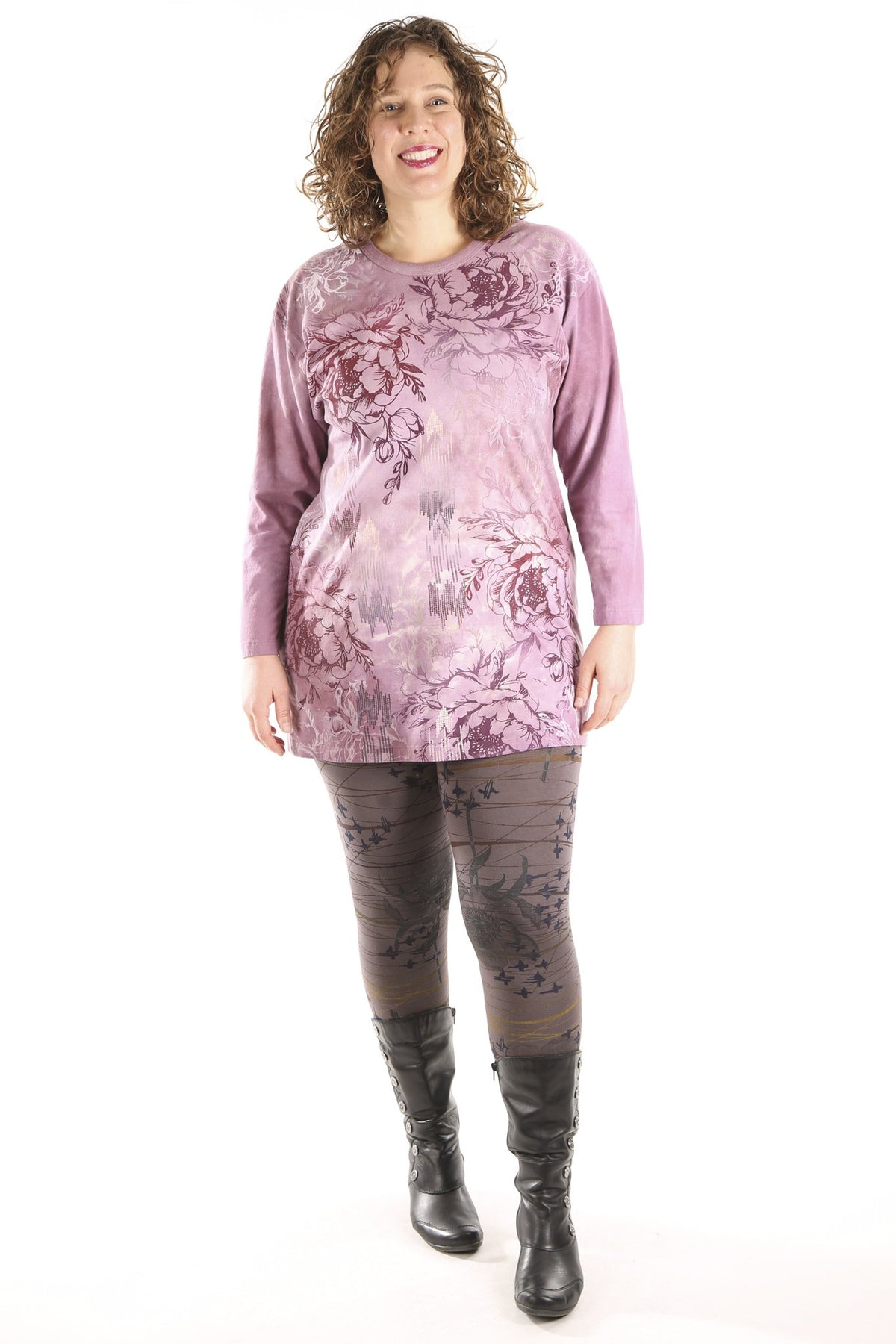 1157HD L/S Hand Dyed Studio Tee Mottled Berry Pinks-P