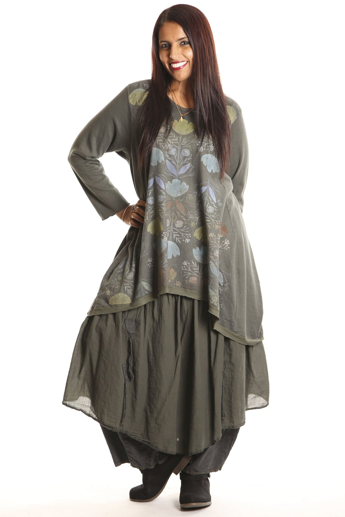 1244 Organic Hemp Cotton Dark Olive Hi Lo Tunic W/ Orly Flower