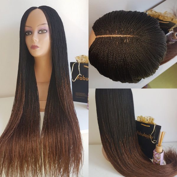 Million Braids Wig Ombre  (Black and Brown)