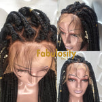 Box braids lace front wig jumbo 1b and highlights (Janice)