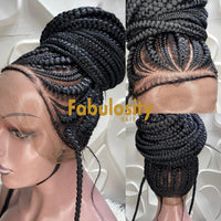 Cornrow braided wig full lace human hair (Candy)