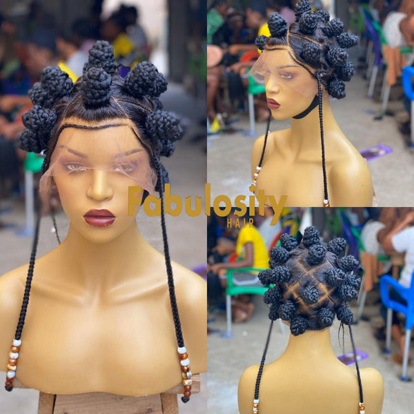 Bantu Knots braided wig (hanging down braids beads)