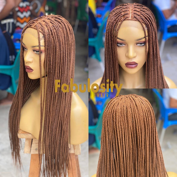 Knotless box braided closure wig