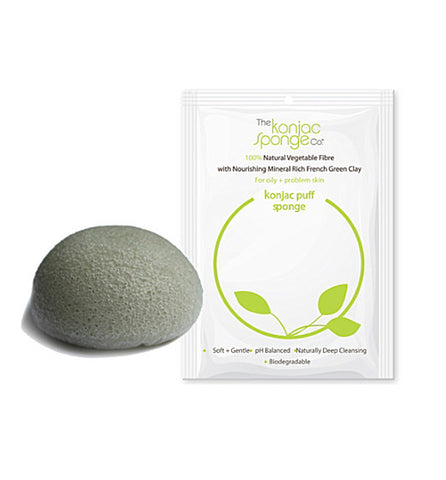 KONJAC SPONGE WITH FRENCH GREEN CLAY