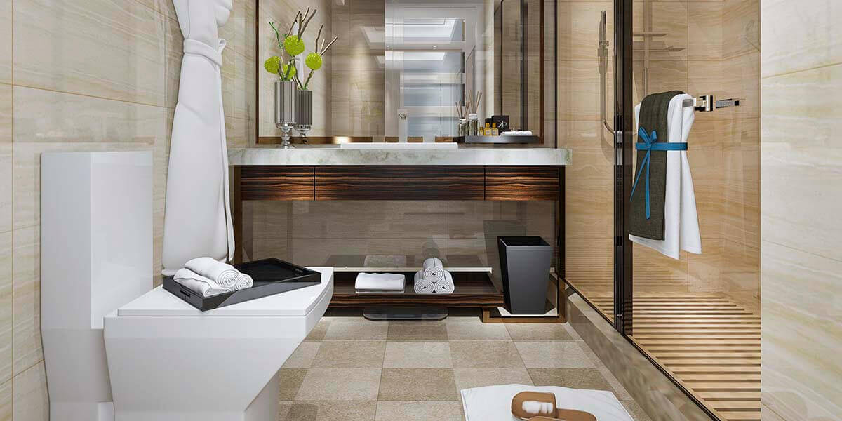 simple contrasting bathroom