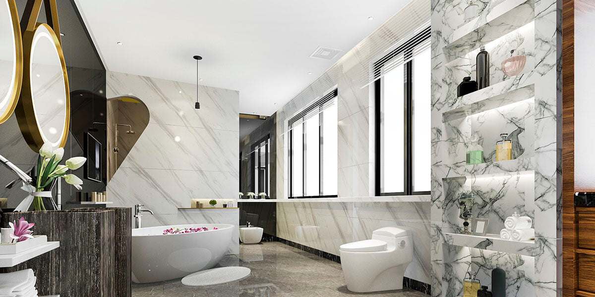 How to use wide and glossy tiles to enlarge bathroom?