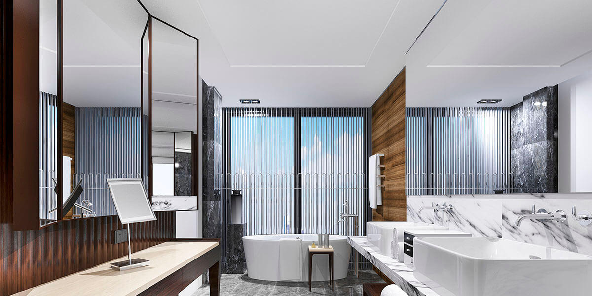 Hot to use mirror on wall for doubling bath size effect?