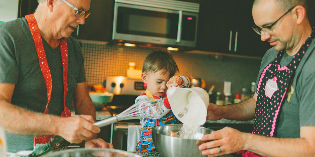 Father dad and kid cooking
