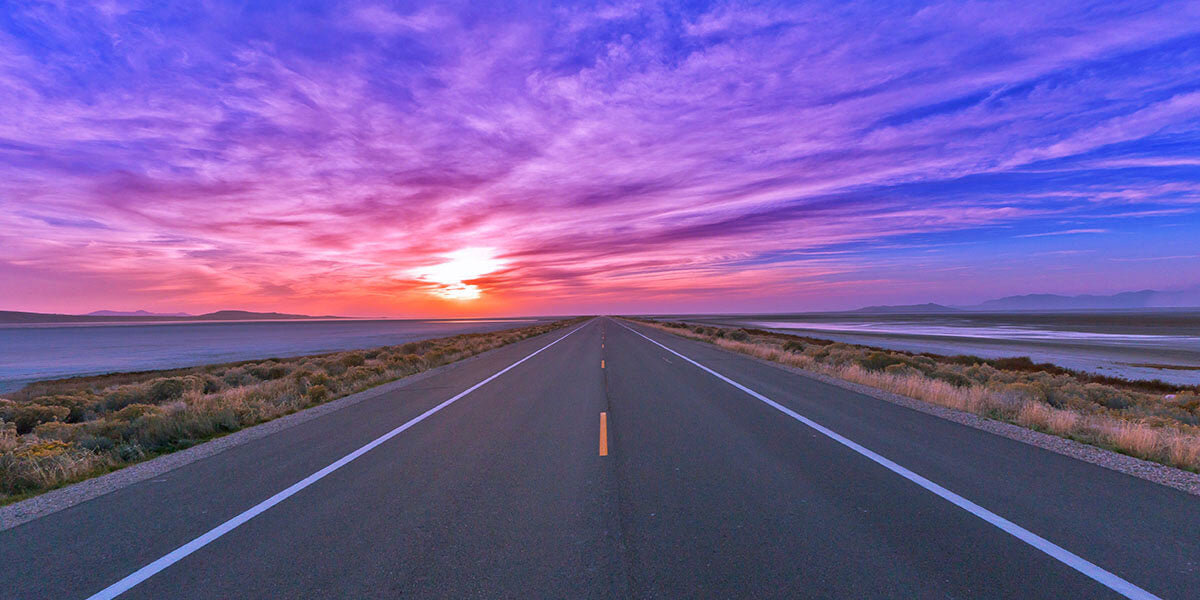 sunset on the empty road horizon visible