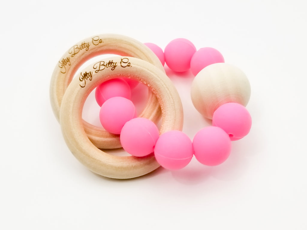 Silicone and Wooden Teething Bracelet - Fuchsia