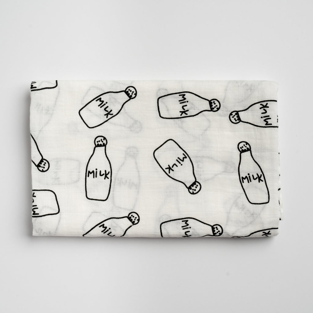 Milk Bottle Swaddle Blanket - Itty Bitty Co