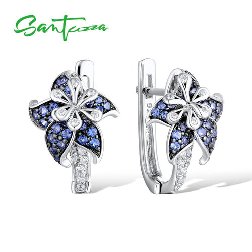 Silver Earrings For Woman Pure 925 Sterling Silver Blue Star Flower