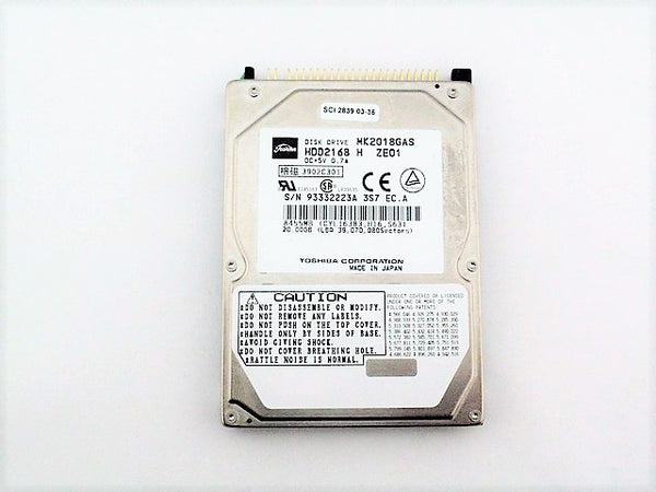 Toshiba MK2018GAS Used Laptop Hard Drive 2.5 20GB IDE 4.2K