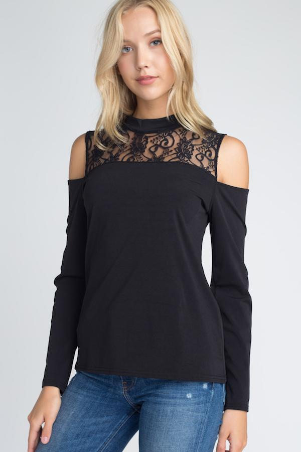 Women's Lace Cold Shoulder Top