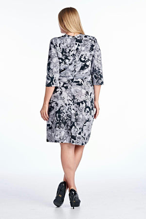 Women's Plus Size V-Neck Wrap Dress with Floral Print