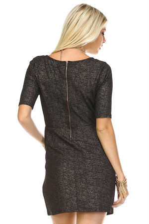 Women's Bronze Knit Zip Back Shift Dress