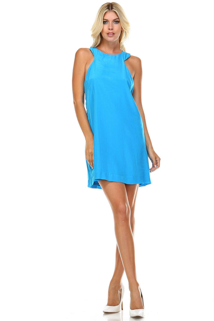 Women's High Neck Cut-Out Sleeveless Dress