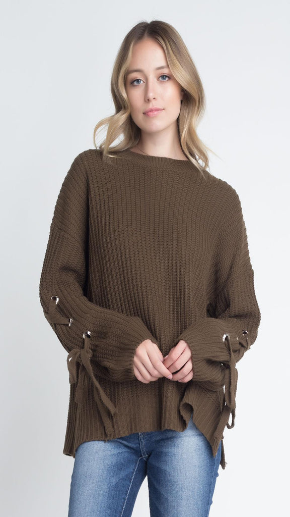 Women's Solid Bandage Sleeve Loose Pullover Sweater