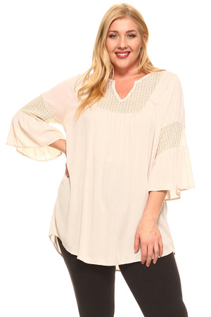 Women's Plus Size Split Neck Bell Sleeve Crochet Top