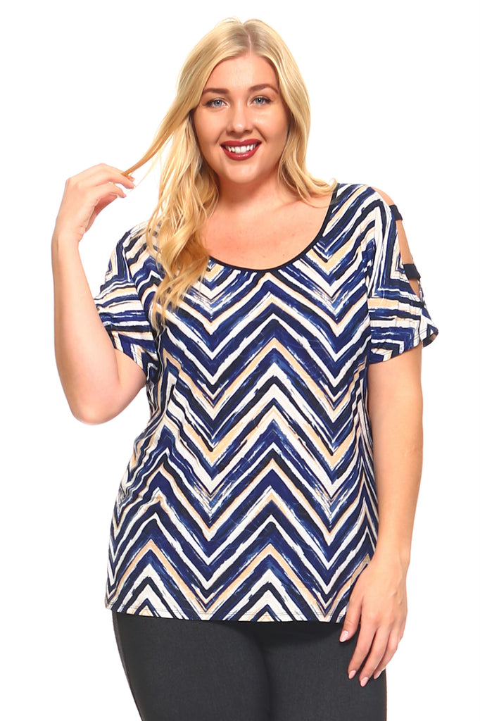 Women's Plus Size Cold Shoulder Zig Zag Scoop Top
