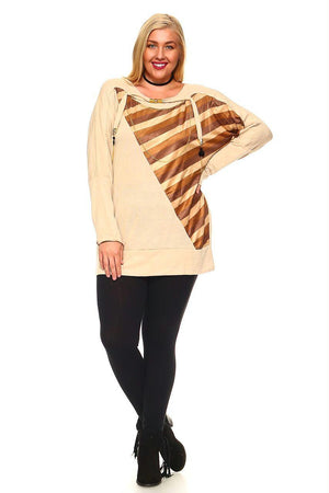 Women's Plus Size Knit Sweater Top With Striped Print and Embellished Neck Detail