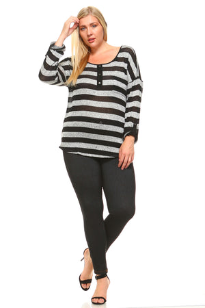 Women's Plus Size Striped Sweater With Back Detail