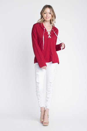 Women's Tie Hooded Long Sleeve