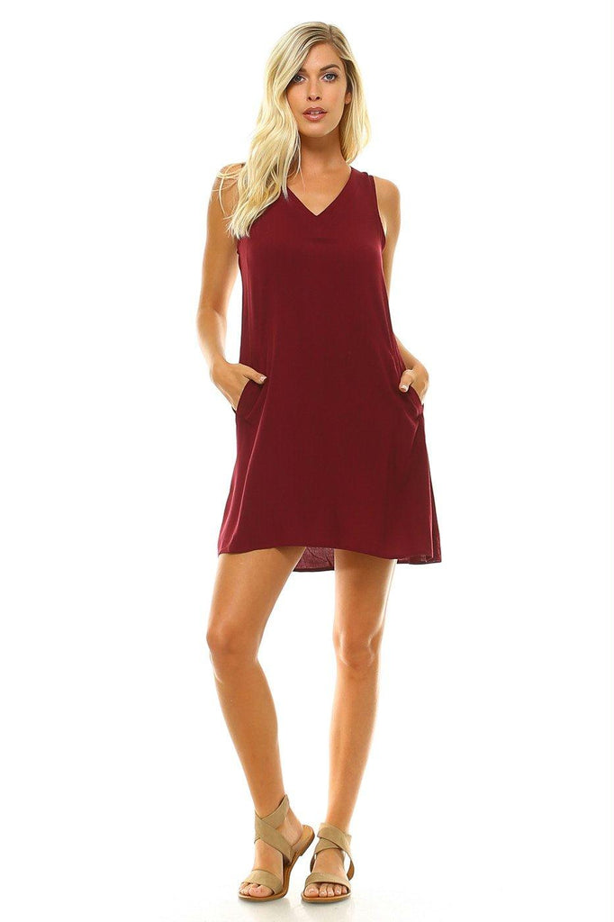 Women's V-Neck Knee Length Tank Dress