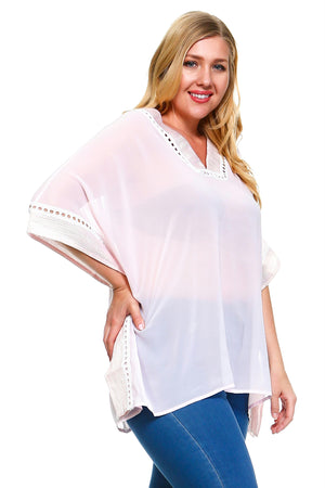 Women's Plus Size V-Neck Sheer Blouse