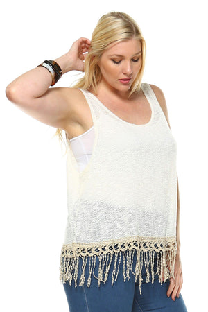 Women's Plus Sleeveless Knitted Top with Fringe Detail