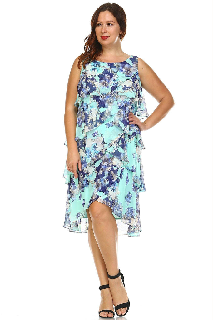 Women's Plus Size Floral Layered Chiffon Dress