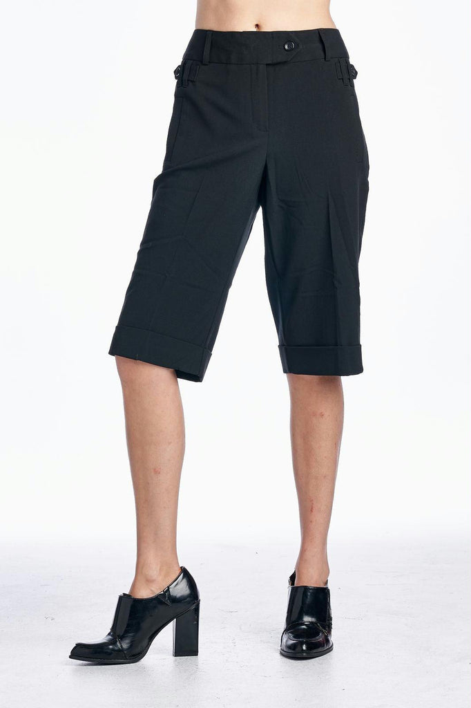 Larry Levine Black Stretch Dress Shorts