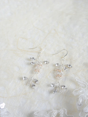 """Edith"" Crystal & Pearl Handmade Earrings"
