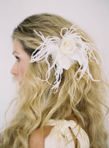 "SALE ""Eloise"" Ivory Flower Fascinator with Ostrich Feathers"
