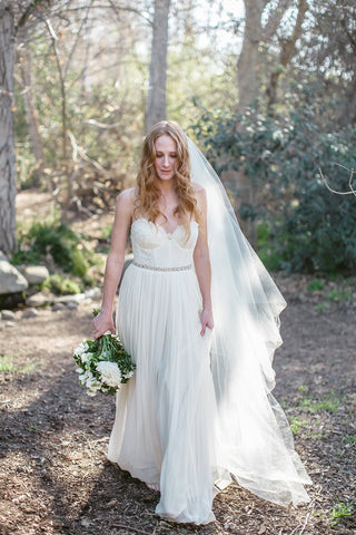 """Lucille""Cathedral Length Bridal Veil with Blusher"