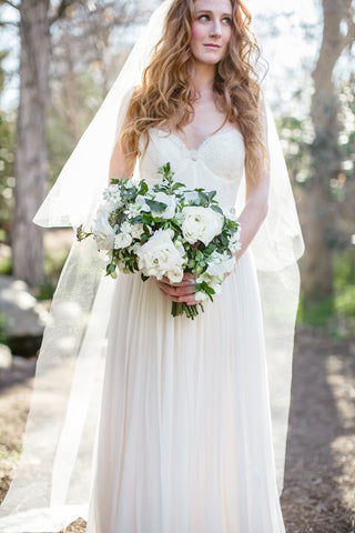 """Lucille"" Chapel Length Bridal Veil with Blusher"