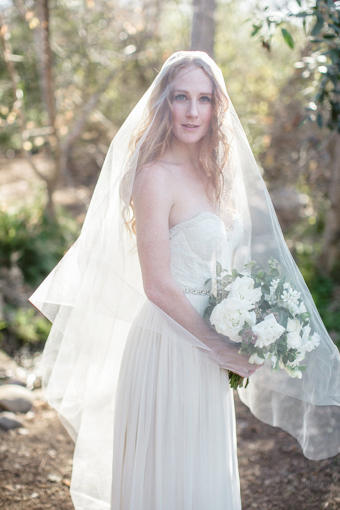 LucilleCathedral Length Bridal Veil With Blusher