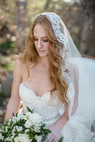"""Mary"" Mantilla Lace Bridal Veil"
