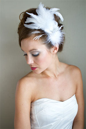 """Ava"" Bridal Feather Fascinator"